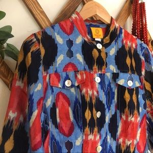 Ikat Pattern Blouse Stand Collar Ruby Rd. Petite